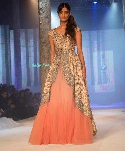 JJ Valaya - Shaded Jacket Lehenga with Heavily Embroidered Jacket and shaded pink light net lehenga - BMW India Bridal Fashion Week 2015