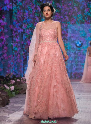 Jyotsna Tiwari - Embroidered Blush Pink Anarkali Gown in tulle and lace - BMW India Bridal Fashion Week 2015