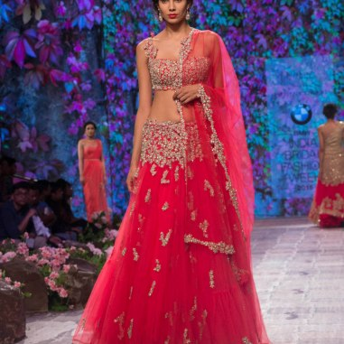 Jyotsna Tiwari - Heavily Embellished Blouse and Red Lehenga with Miniature Floral Embroidery - BMW India Bridal Fashion Week 2015