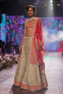 Jyotsna Tiwari - Heavily Embroidered Gold Lehenga with Embroidered Red Blouse - BMW India Bridal Fashion Week 2015