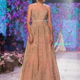 Jyotsna Tiwari - Heavily Embroidered Pink & Gold Layered Gown with Floral Work - BMW India Bridal Fashion Week 2015