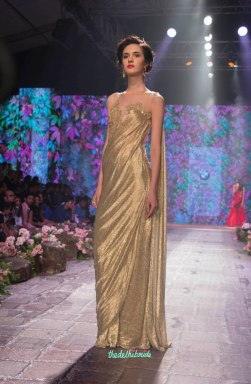 Jyotsna Tiwari - Metalic Gold Pre-draped Sari - BMW India Bridal Fashion Week 2015