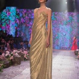 Jyotsna Tiwari - Metalic Gold Pre-draped Sari - BMW India Bridal Fashion Week 2015