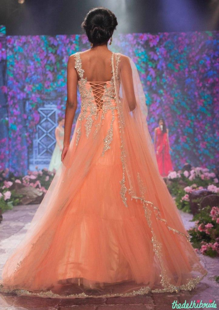 Jyotsna Tiwari - Peach Anarkali Gown with Embellished Floral Embroidery Back - BMW India Bridal Fashion Week 2015