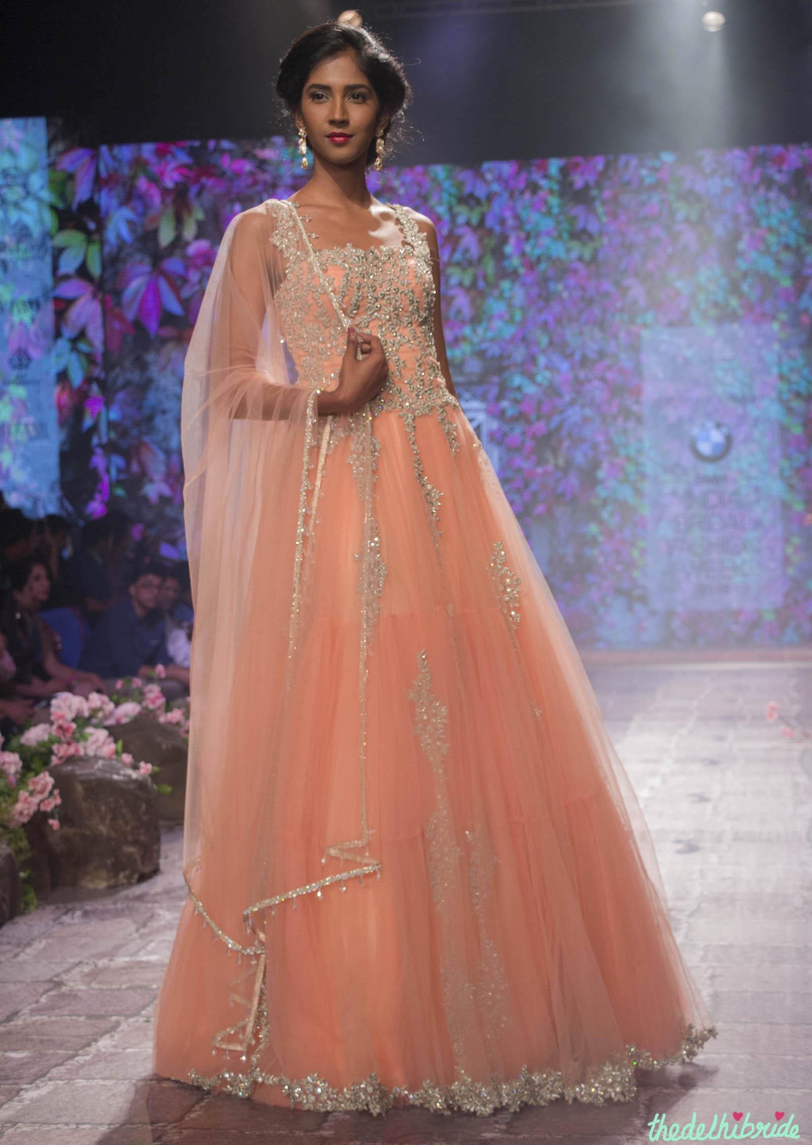 Jyotsna Tiwari – Peach Anarkali Gown with Embellished Floral ...