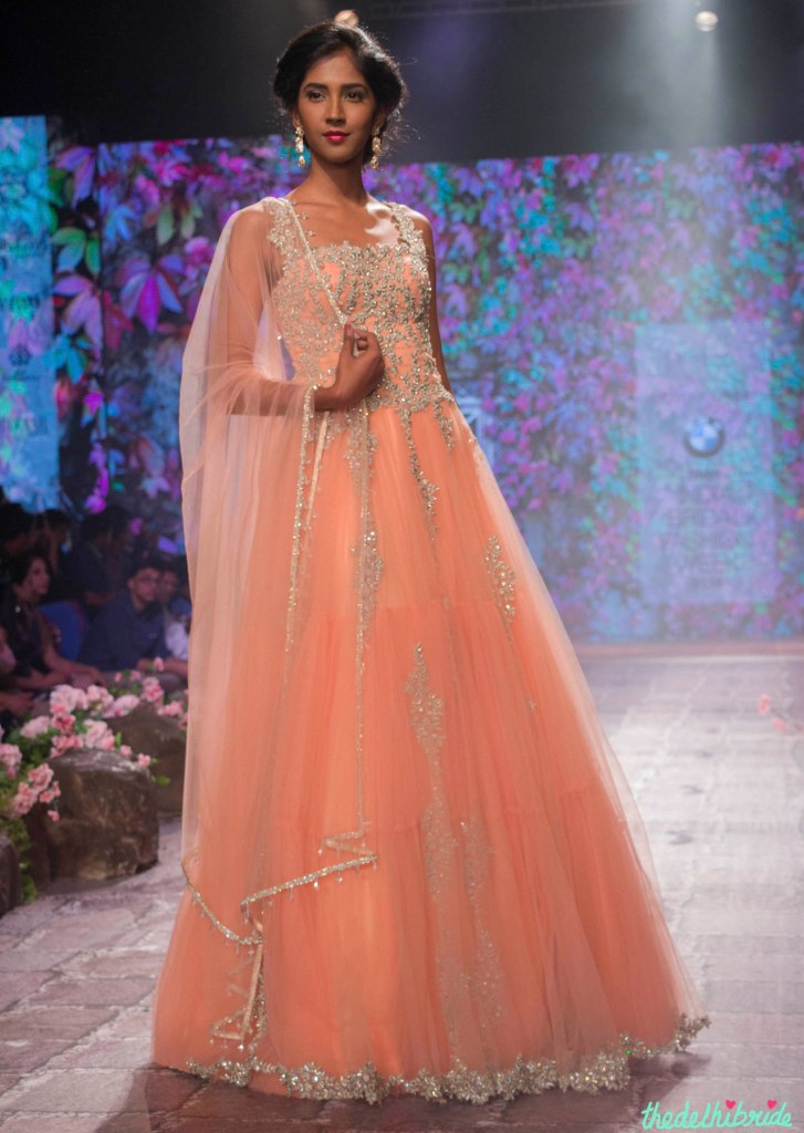 Jyotsna Tiwari - Peach Anarkali Gown with Embellished Floral Embroidery Front - BMW India Bridal Fashion Week 2015