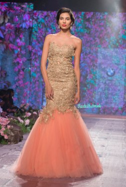 Jyotsna Tiwari - Peach Mermaid Gown in Tulle with Gold Lace Work - BMW India Bridal Fashion Week 2015