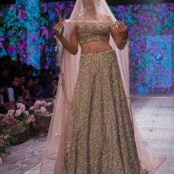 Jyotsna Tiwari - Pink Lehenga heavily embroidered in dull gold and silver with light net dupatta - BMW India Bridal Fashion Week 2015