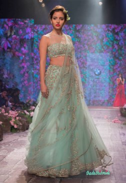 Jyotsna Tiwari - Powder Blue Tulle Lehenga and Choli with Embellished Floral Embroidery - BMW India Bridal Fashion Week 2015