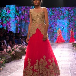 Jyotsna Tiwari - Red Anarkali Gown in Tulle with Gold Lace Work - BMW India Bridal Fashion Week 2015