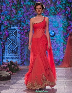Jyotsna Tiwari - Red and Coral Pre-draped Sari with Embellished Floral Embroidery - BMW India Bridal Fashion Week 2015