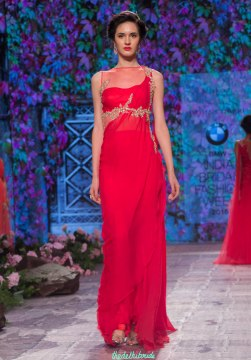 Jyotsna Tiwari - Red pre-draped sari gown with Embroidered belt - BMW India Bridal Fashion Week 2015