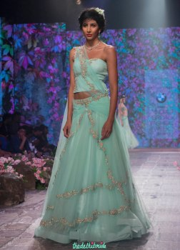 Jyotsna Tiwari - Soft Aqua Blue Lehenga and Corset Blouse with Embellished Floral Embroidery - BMW India Bridal Fashion Week 2015