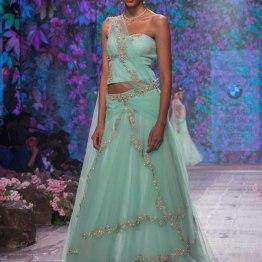 Jyotsna Tiwari - Soft Aqua Blue Lehenga and Corset Blouse with Embellished Floral Embroidery - BMW India Bridal Fashion Week 2015