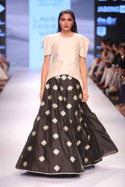 Lehenga - Black lehenga skirt with silver motifs - payal Singhal - Lakme Fashion Week Winter-Festive 2015