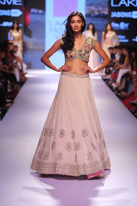 Lehenga - Ivory pink lehenga with floral blouse - Anushree Reddy - Lakme Fashion Week Winter-Festive 2015