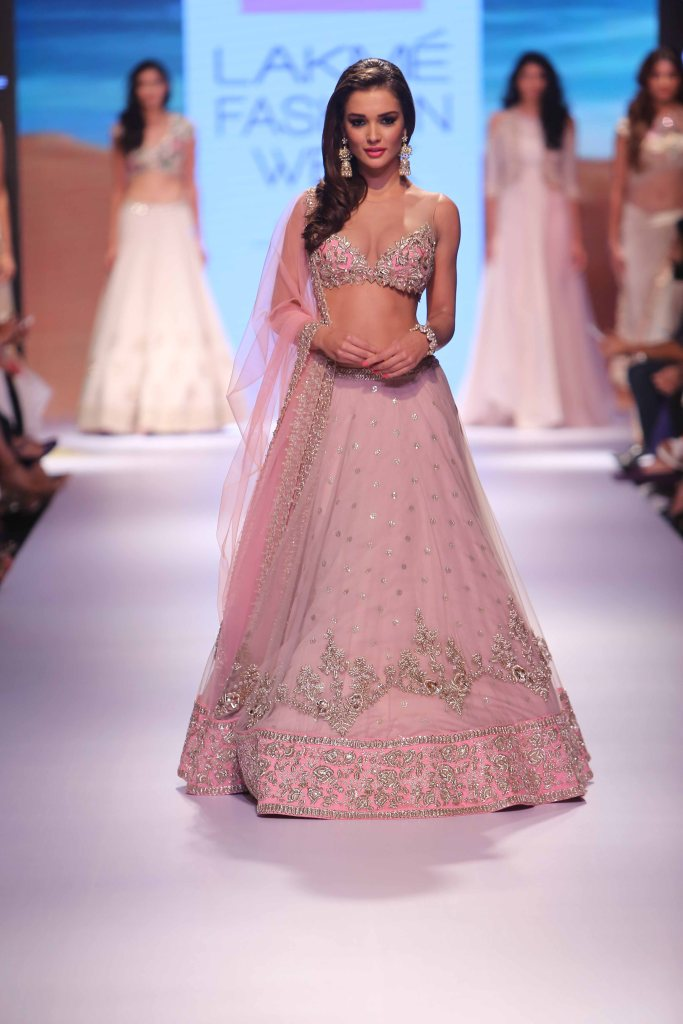 Lehenga - Vintage rose pink lehenga with embroidered blouse front - Amy Jackson - Anushree Reddy - Lakme Fashion Week Winter-Festive 2015