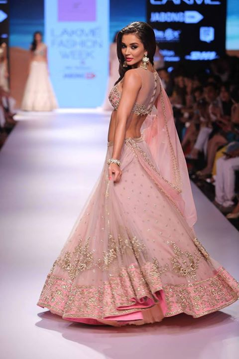 Lehenga - Vintage rose pink lehenga with embroidered Blouse side - Amy Jackson - Anushree Reddy - Lakme Fashion Week Winter-Festive 2015