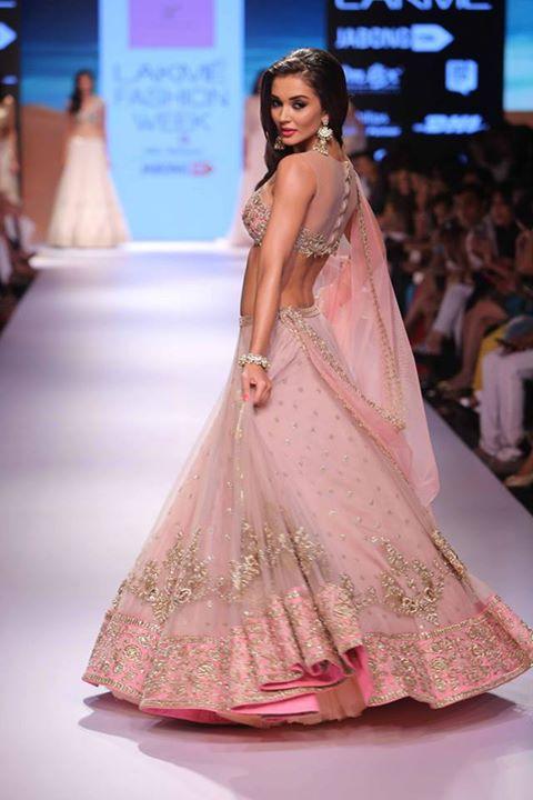 Lehenga - Vintage rose pink lehenga with embroidered Blouse side - Amy Jackson - Anushree Reddy - Lakme Fashion Week Winter-Festive 2015