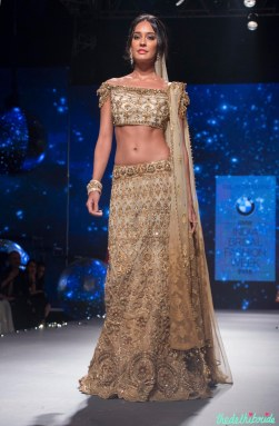 Lisa Haydon in Gold Lehenga with Zardosi Embroidered Work 1 - Tarun Tahiliani - BMW India Bridal Fashion Week 2015