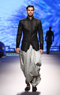 Men's Wear - Bandhgala Black Sequin Jacket _ Grey Dhoti Pants with Juttis - Tarun Tahiliani - BMW India Bridal Fashion Week 2015