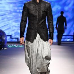Men's Wear - Bandhgala Black Sequin Jacket _ Grey Dhoti Pants with Juttis - Tarun Tahiliani - BMW India Bridal Fashion Week 2015