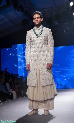 Men's Wear - Beige Long Kurta Under Ivory Embroidered Sherwani Jacket - Tarun Tahiliani - BMW India Bridal Fashion Week 2015