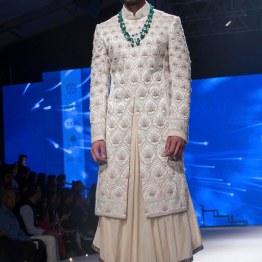 Men's Wear - Beige Long Kurta Under Ivory Embroidered Sherwani Jacket - Tarun Tahiliani - BMW India Bridal Fashion Week 2015
