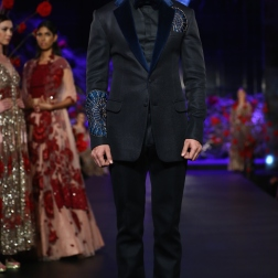 Men's wear Black formal blazer with midnight blue lapel and embroidered motifs - Manish Malhotra Amazon India Couture Week 2015