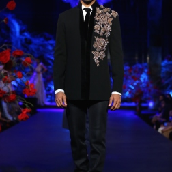 Men's wear black jacket with gold embroidered motif on shoulder - Manish Malhotra Amazon India Couture Week 2015
