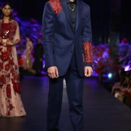 Men's Wear Blazer Jacket with Red Mushroom Flower Motifs _ Handcrafted Shoes - Manish Malhotra - Amazon India Couture Week 2015