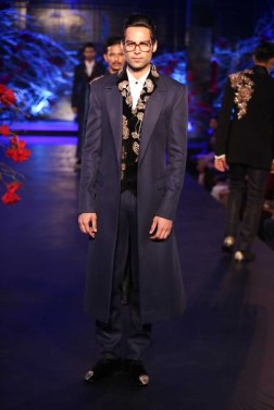 Men's Wear - Blue Trench Coat, Velvet Half Jacket with Gold Motifs _ Pants - Manish Malhotra - Amazon India Couture Week 2015