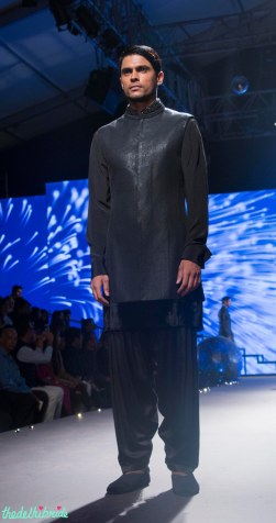 Men's Wear - Carbon Black Bandhgala Jacket, Black Velvet Kurta _ Black Pyjamas - Tarun Tahiliani - BMW India Bridal Fashion Week 2015