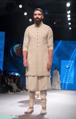 Mens Wear - Chikankari Kurta with Embroidered Mid-Length Jacket & Churidaar - Tarun Tahiliani - BMW India Bridal Fashion Week 2015