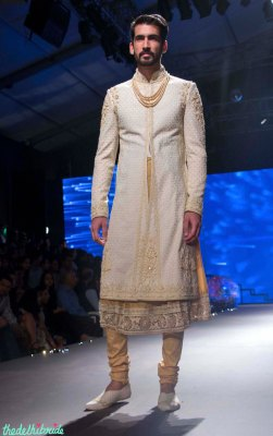 Men's Wear - Cream Chikankari Sherwani Jacket with Embroidered Ari Work, Gold Kurta & Churidaar - Tarun Tahiliani - BMW India Bridal Fashion Week 2015