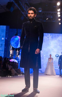Men's Wear - Deep Blue Velvet Sherwani Jacket with Black Pants - Tarun Tahiliani - BMW India Bridal Fashion Week 2015