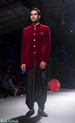 Men's Wear - Deep Red Velvet Bandhgala Coat & Black Dhoti Pants - Tarun Tahiliani - BMW India Bridal Fashion Week 2015