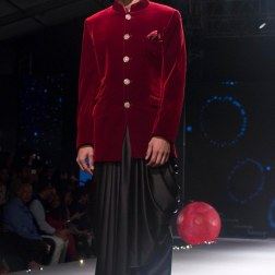 Men's Wear - Deep Red Velvet Bandhgala Coat & Black Dhoti Pants - Tarun Tahiliani - BMW India Bridal Fashion Week 2015