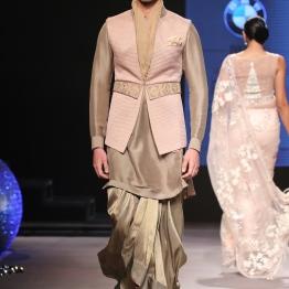 Men's Wear - Gold Kurta with Pleated Gold Dhoti & Baby Pink Half Jacket with Embroidered Belt - Tarun Tahiliani - BMW India Bridal Fashion Week 2015