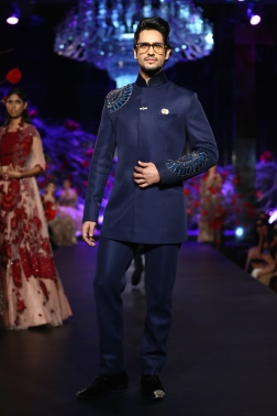 Men's Wear Indigo Blue Bandhgala with Blue Mushroom Flower Motifs - Manish Malhotra - Amazon India Couture Week 2015