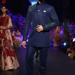 Men's Wear Indigo Blue Bandhgala with Blue Mushroom Flower Motifs - Manish Malhotra - Amazon India Couture Week 2015