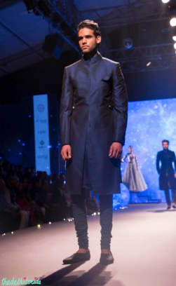 Men's Wear - Indigo Blue Plain Sherwani Jacket with Churidaar - Tarun Tahiliani - BMW India Bridal Fashion Week 2015