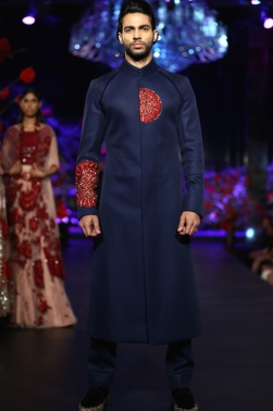 Men's Wear Indigo Blue Sherwani Jacket with Red Mushroom Flower Motifs - Manish Malhotra - Amazon India Couture Week 2015