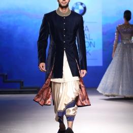 Men's Wear - Indigo Blue Velvet Sherwani Jacket with White Dhoti and blue border - Tarun Tahiliani - BMW India Bridal Fashion Week 2015