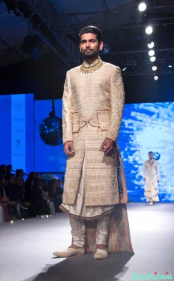 Men's Wear - Ivory & gold Sherwani Jacket | Camarbandh with trail - Tarun Tahiliani - BMW India Bridal Fashion Week 2015