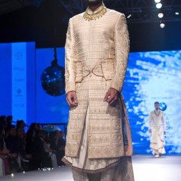 Men's Wear - Ivory & gold Sherwani Jacket | Camarbandh with trail - Tarun Tahiliani - BMW India Bridal Fashion Week 2015