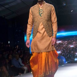 Men's Wear - Kanjeevaram Predraped Orange Gold Dhoti, Peach Kurta & Embroidered Jacket - Tarun Tahiliani - BMW India Bridal Fashion Week 2015