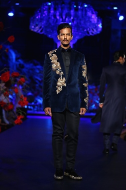 Men's wear Midnight blue formal blazer in velvet with gold embroidered on shoulder & arm - Manish Malhotra Amazon India Couture Week 2015