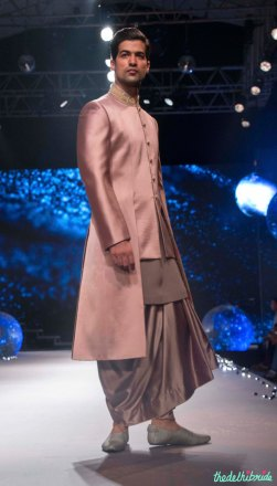 Men's Wear - Onion Pink Jacket with Grey Kurta & Dhoti Pants - Tarun Tahiliani - BMW India Bridal Fashion Week 2015