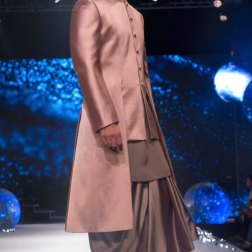 Men's Wear - Onion Pink Jacket with Grey Kurta & Dhoti Pants - Tarun Tahiliani - BMW India Bridal Fashion Week 2015